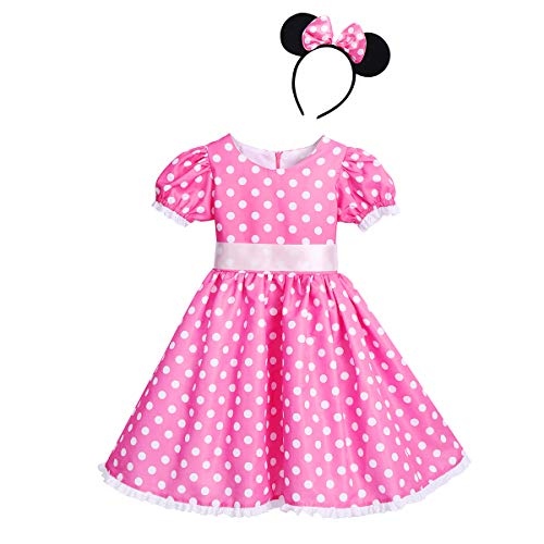 (Baby Girls Polka Dots Princess Dress Cake Smash Cosplay Fancy Costume Birthday Party Outfits Halloween Bowknot Leotard Ballet Dance Tutu Dress + 3D Mouse Ears Headband Clothes Set Bow Pink 7-8)