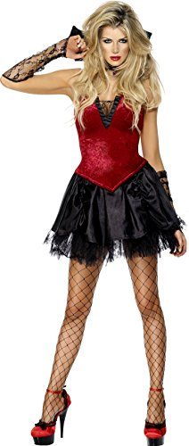 Fever Women's Vixen Vamp Costume Skirt with Lace Petticoat Corset, Red/Black, Small