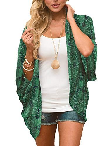 Chunoy Women Floral Kimono Loose Short Sleeve Shawl Chiffon Cover Up Green Medium ()