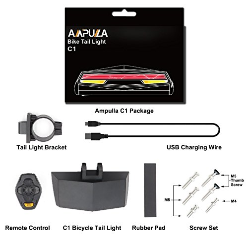 Ampulla Rechargeable Bike Tail Light LED - Remote Control, Turning Lights, Ground Lane Alert, Waterproof, Easy Installation for Cycling Safety Warning Light by Ampulla (Image #6)