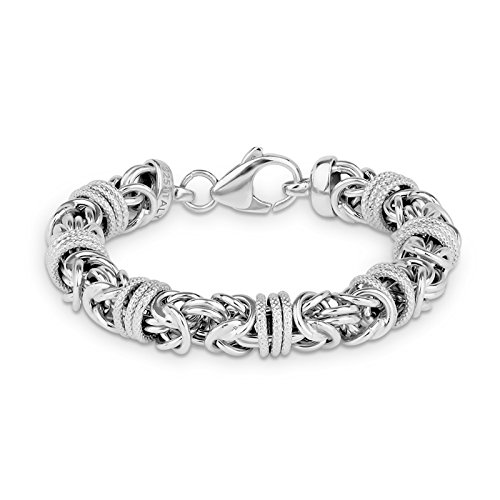 Sterling Silver Round Byzantine 7 Wrapped Sect Bracelet 7.5