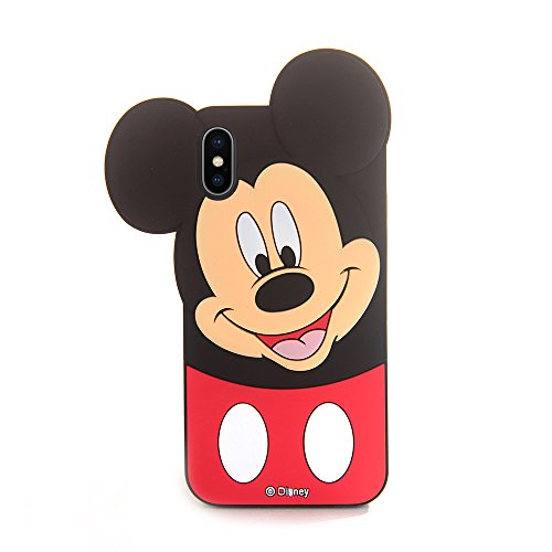 Walt Disney Case - Soft Silicone 3D Cartoon Mickey Mouse Case for iPhone X iPhoneX 10 Flexible Rubberized Shockproof Protective Cute Lovely Fashion Cool Classic Classy Gift for Teens Little Girls Women (Mickey Mouse)