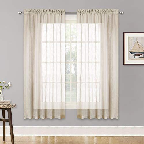 (RYB HOME Linen Textured Sheer Window Curtains for Bedroom Privacy Sheer Drapes, Sunlight Filtering Nature Air Through Soft Sheer Curtains for Kitchen, Warm Beige, 52 x 63 inch Each Panel, One Pair)