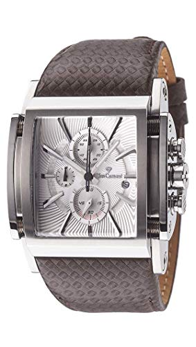 Yves Camani Escaut Men's Quartz Watch Silver Stainless Steel Chronograph Leather Strap -