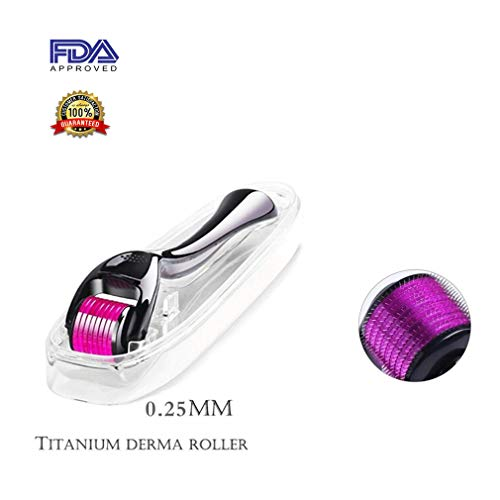 Derma Roller Microneedles Kit Cosmetic Instrument for Face, Micro Needle 0.25mm Size 540 Titanium for Face & Body Skin Care with 1 Protective Case(Black)