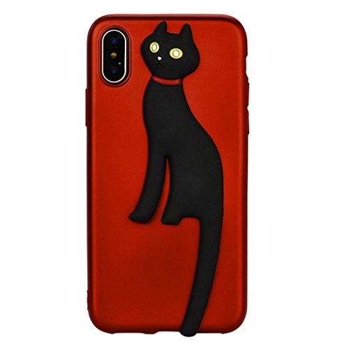 Price comparison product image GBSELL 3D Cat Animals Soft TPU Case Skin For iPhone X (E)