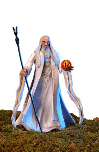 Lord of the Rings: Two Towers - Saruman the White Action Figure (Staff-Raising Action and Eye of Magnetic Palantir) (Gandalf The White Staff)