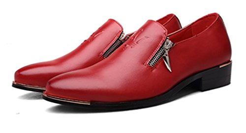 Santimon Dress Shoes Mens Casual Zipper Stylist Slip on Formal Wedding Party Oxford by Black Brown White Red Red OmYRt