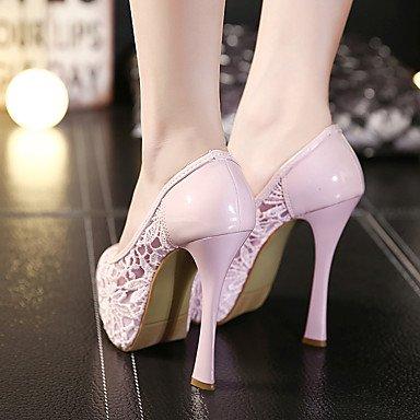 LvYuan Tacón Stiletto-Zapatos del club-Sandalias-Oficina y Trabajo Vestido Fiesta y Noche-Tul PU-Negro Rosa Almendra almond