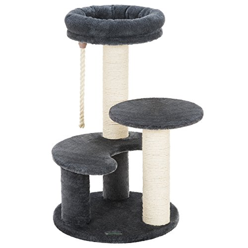Well Ollieroo Small Cat Tree Condo Playhouse with Sisal Scratch Posts Kitty Furniture Tower Moon Shaped Ladder Dark Gray ✉