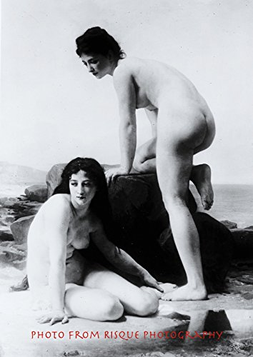 "Nude Bathers on Rock 8.5x11"" Photo Print, Vintage Beach Naked Erotic Fun in Sun"