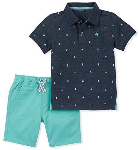 Nautica Sets (KHQ) Baby Boys 2 Pieces Polo Shorts Set, Blue/Green 6-9 Months