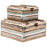 Cheap Rustic Faded Wood Storage Box Set 2 Blue Brown White Black Nautical Ocean Decor