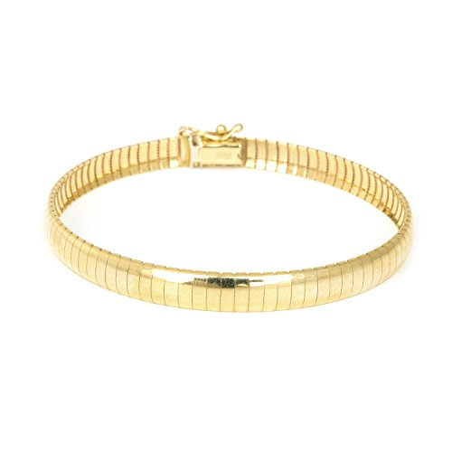 14k Yellow Gold 6mm Classic Omega Bracelet, 7
