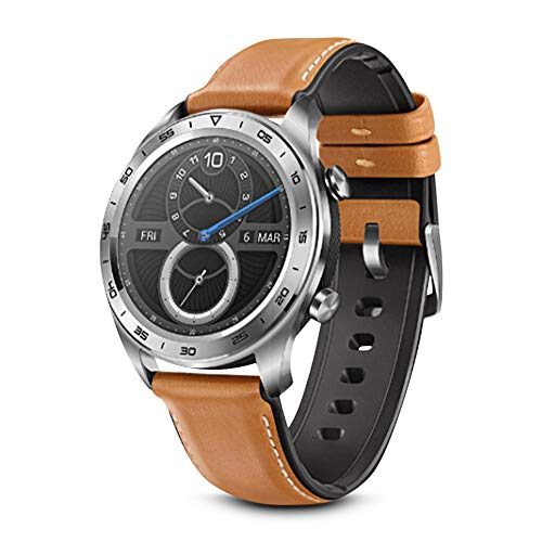Original Huawei Honor Watch Magic Outdoor NFC Smart Watch Sleek Slim Long Battery Life GPS Scientific Coach 1.2 inch HD AMOLED 390390 Color Screen Activity Tracker 5ATM Waterproof (Moonlight silver)