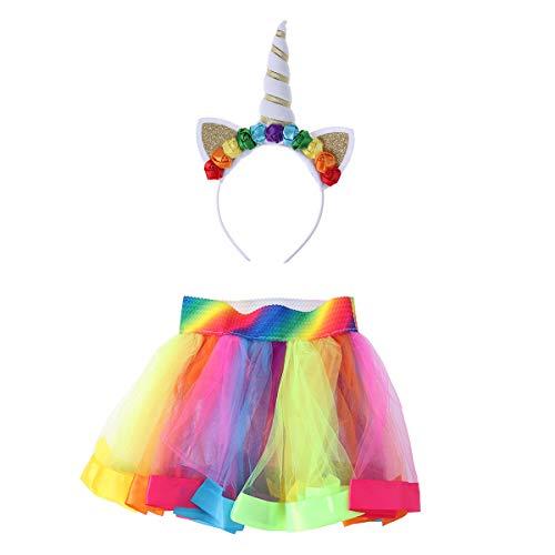 PIXNOR Hoofdbanden voor kinderen, Regenboog Tutu Jurk Eenhoorn Hoofddeksels Halve lengte Rok Set Baby Meisje Kostuum…