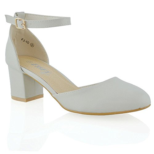 Buckle Mid LEATHER Heel Low Strap Sandals ESSEX SYNTHETIC Block Ankle Shoes Court Ladies New Womens GLAM STONE aqTwYYgzR