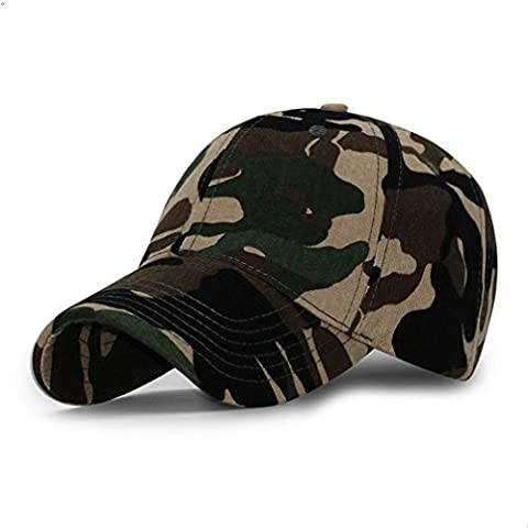 Sports Hat Breathable Outdoor Run Cap Camo Baseball caps Shadow Structured hats (Coffee) (Chief Head Snapback)