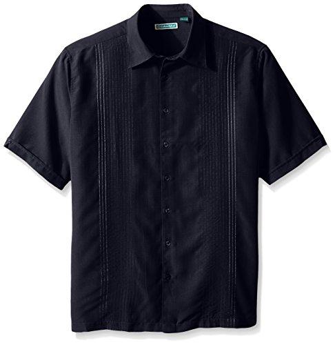 Vertical Shirt Woven Stripe (Cubavera Men's Big-Tall Short Sleeve Textured Ombre Embroidery Woven Shirt, Navy Blazer, X-Large/Tall)