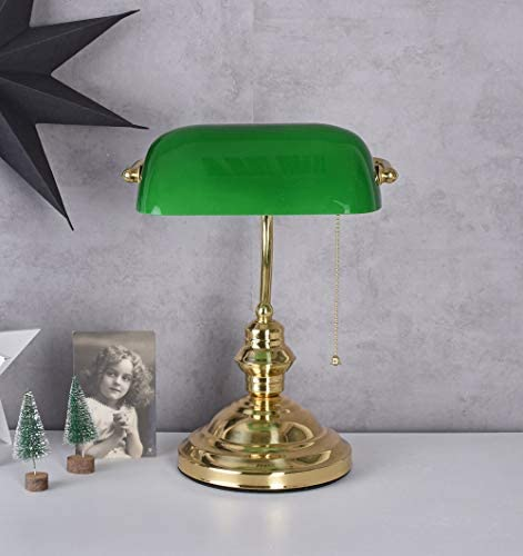 Leseleuchte Bankers Lamp Klassiker Tischlampe Messing Lampe Schreibtischlampe