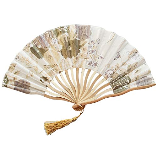 Floral Folding Hand Fan - Vintage Handheld Lace Folding Fan with Silk Bamboo Fabric Folding Fan for Wedding Dancing Party Gift and Home Decoration -
