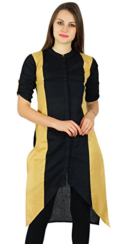 Bimba Formale Cotone Tunica Abbigliamento Beige Nero E Khadi Casuale Kurti Kurta Fit Asimmetrica ztYrqz