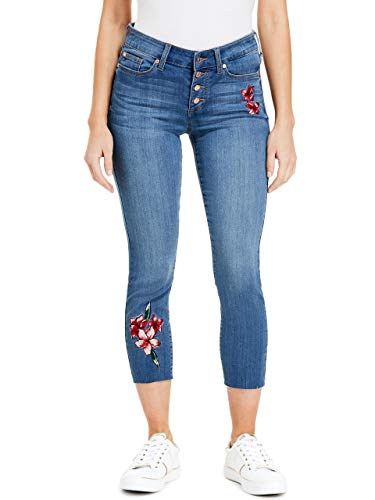 GUESS Factory Women's Zoie Floral-Embroidered Crop Jeans ()