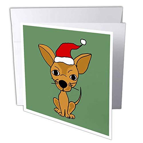 3dRose Funny Chihuahua Dog Wearing Santa Hat Christmas Art Greeting Cards, Set of 6 (gc_200475_1)
