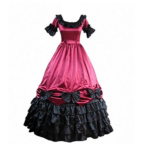 Partiss Womens Satin Ruffles Gothic Wedding Party Dress,XX-Large, WineRed -