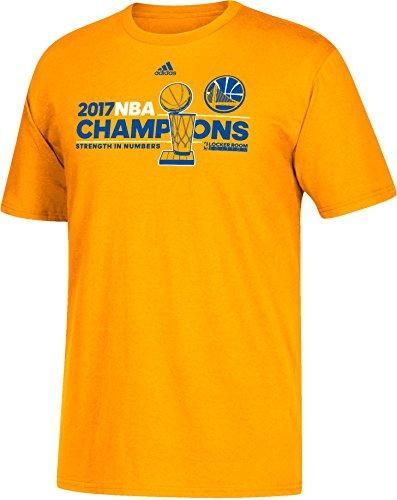 adidas Golden State Warriors 2017 NBA Finals Champions Official Locker Room Gold T-shirt XX-Large