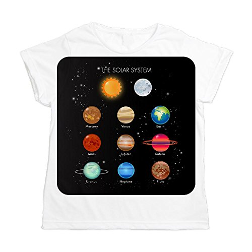 Royal Lion Women's All Over Print T-Shirt Solar System Sun Moon and Planets - Large
