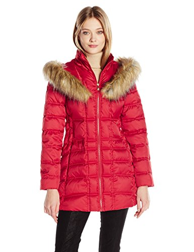 Betsey Johnson Women's 3/4 Puffer with Corset Side and Faux Fur Heart Hood, Glamorous Red, S