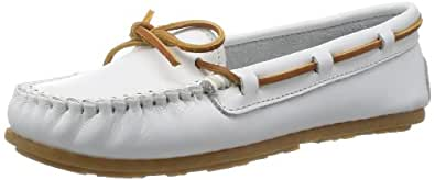 Minnetonka Women's Smooth Leather Moccasin,White,6 M US