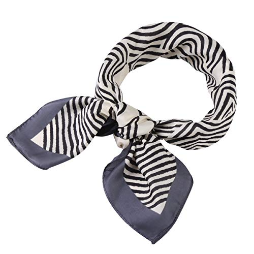 Jaweaver Satin Head Scarf Fashion Pattern Square Silk Headscarf Light Weight Small Hair Scarfs for Women Girls (Stripe-Black Edge, 27x27inch)