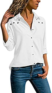StarTreene Women Casual Polo T-Shirt V Neck Long Sleeve Tunic Blouse Tops