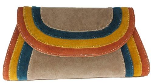 Girly Handbags Suede Leather Clutch Bag Suedette Burgundy Navy Blue Tan Black Beige Vintage - Tan Brown - W 11 ,H 6.5 ,D 2 inches