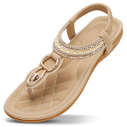 ZOEREA Women Sandals Flats Peep Toe T-Strap Bohemia Shoes Summer Holiday Apricot