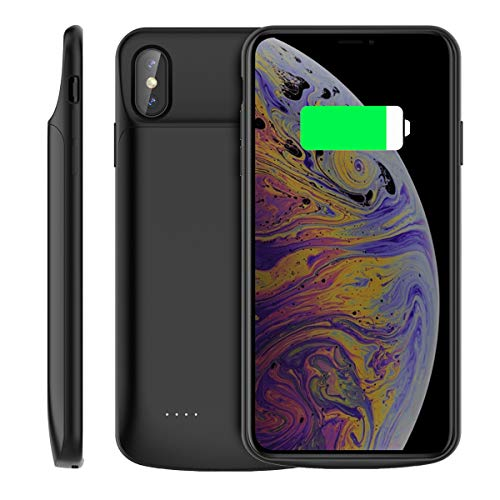 Compatible iPhone XS Max (2018) Battery Case, 6000mAh Rechargeable External Backup Charger Pack Slim Extended Portable Power Bank Extra Shockproof Protective Cover for Iphone XS Max 6.5 Inch Black