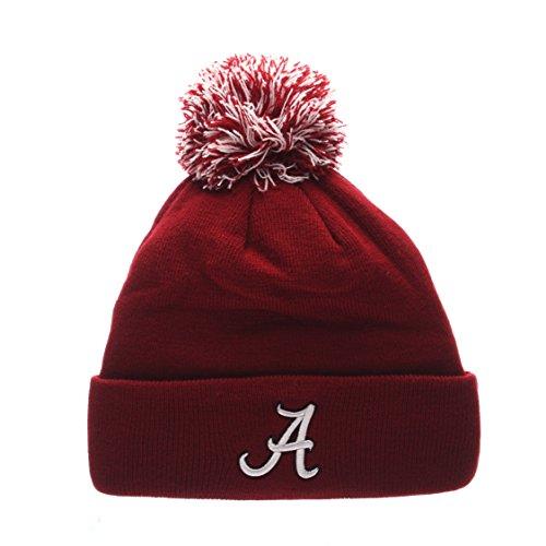 ZHATS Alabama Crimson Tide Cardinal Cuff Beanie Hat with Pom POM - NCAA Cuffed Winter Knit Toque Cap