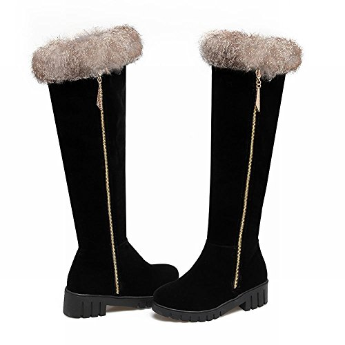 Johannesbroeken Dames Faux Fur Comfortabele Winter Kniehoge Snowboots Zwart