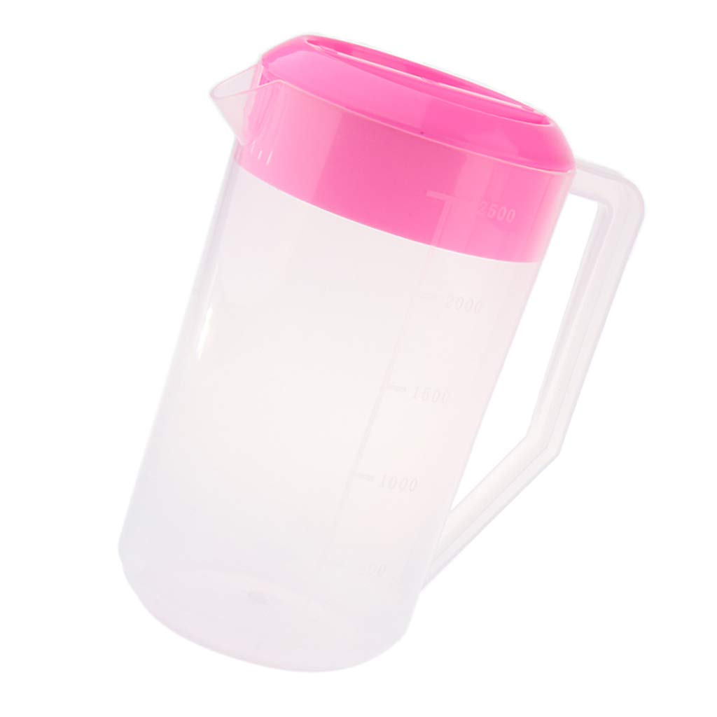 MagiDeal Plastic Cold Water Jug Pot Pitcher with Lid for Juice, Milk, Water 2.5L - Pink