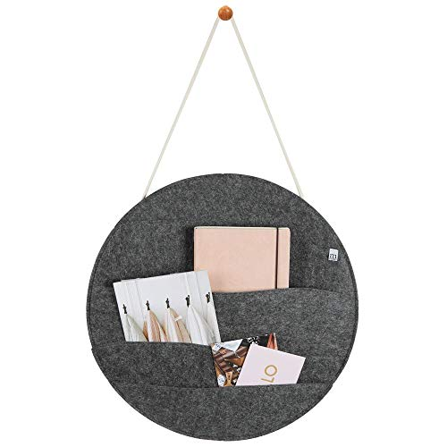 (mDesign Decorative Soft Felt Hanging Storage Organizer - Round Mail Sorter/Letter Holder with Rope, Wall Mount Wood Knob - 4 Wide Pockets - for Entryway, Bedroom, Home Office, Dorm Room -Charcoal Gray)