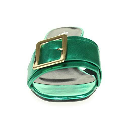 Sera Toe Casual Open Block Scarpe Tacco Shiny Donna Da Taglia Comfort Sandali Verde Spillo A YqEBYT