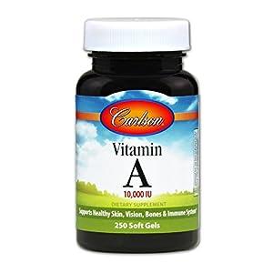 Carlson – Vitamin A, 10000 IU, Skin, Vision & Bone Health, Immune Support, 250 Soft gels
