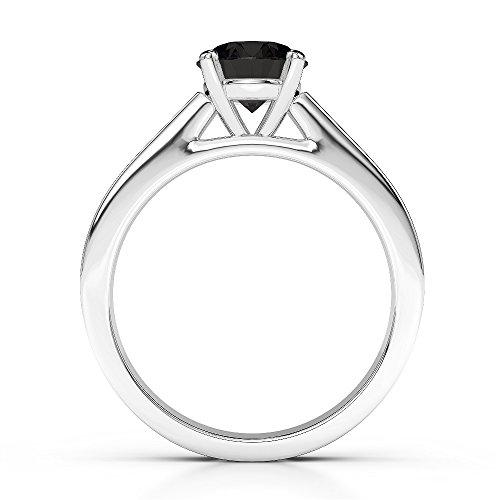 Or blanc 18carats 1CT G-H/VS Certifié Coupe ronde Bague de fiançailles de diamant Noir Agdr-1222