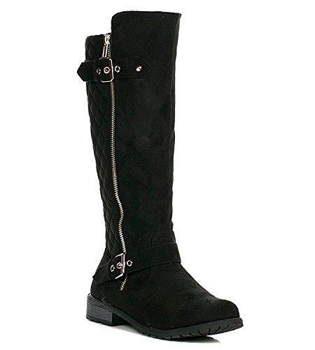 JJF Shoes Mango-21 Women's Winkle Back Shaft Side Zip Knee High Flat Riding Boots Black Nubuck 7.5