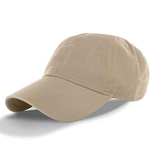 Plain 100% Cotton Hat Men Women Adjustable Baseball Cap (30+ Colors) Khaki, One ()