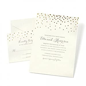 amazon com gartner studios gold foil dot invitation kit set of
