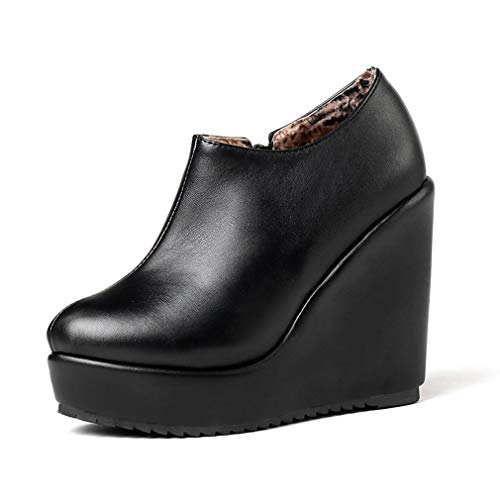 T-JULY Women's High Heels Ankle Boots Round Toe Wedges Footwear Pu Female Platform Boot Zip Shoes
