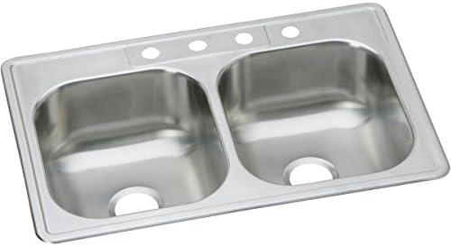 Elkay DSE233221 Dayton Equal Double Bowl Drop-in Stainless Steel Sink